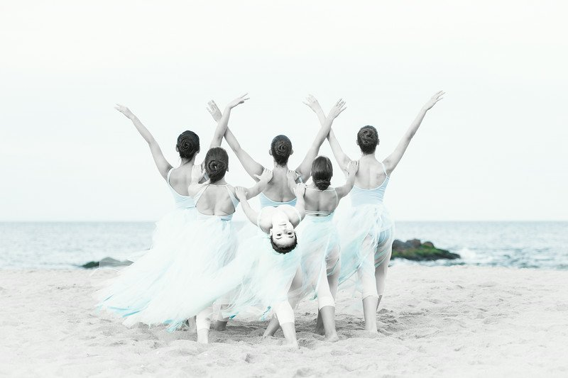 Photo by in house photographer Sori Gottdenker of our dance studio students on the beach in Asbury Park, NJ