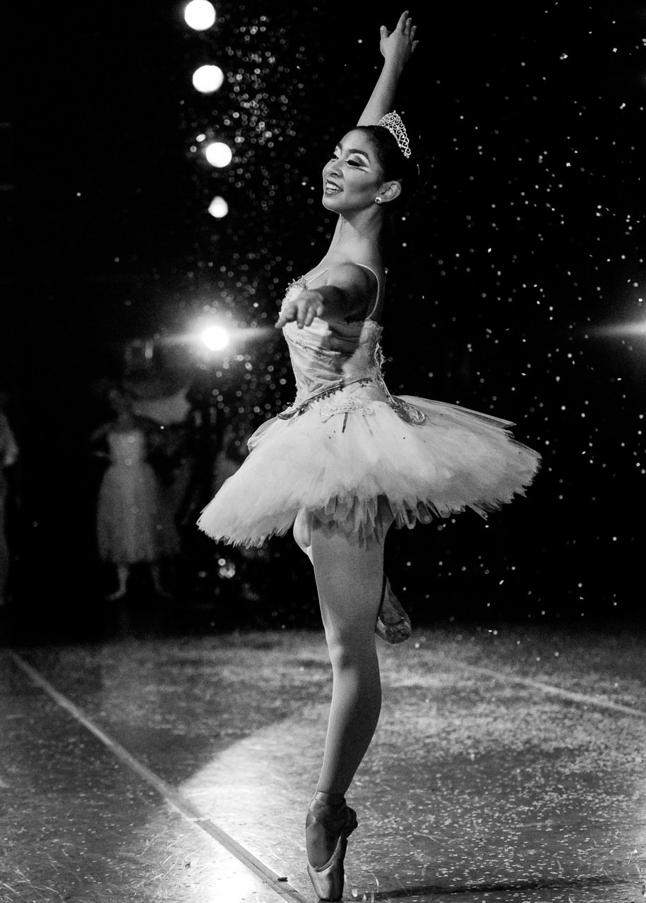 Photo by resident photographer Sori Gottdenker of ADA dance studio student, Catherine Escueta, performing the Snow Queen in the Company of Dance Arts' Nutcracker Ballet