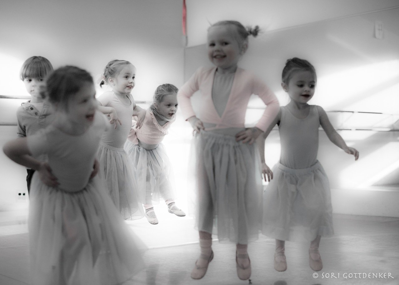 Photo by in house photographer Sori Gottdenker of 3-4 year old students enjoying jumping in the dance studio during Pre Ballet class